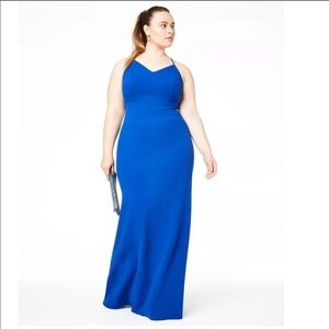 NWT B Darlin Plus Size Lace-Back Gown Royal Blue